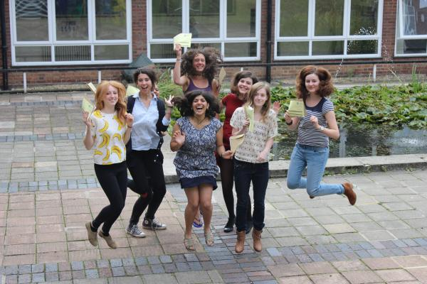 Ursuline High School students celebrating their results today.