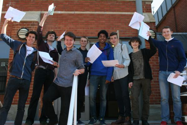 Wimbledon College boys celebrate their results today