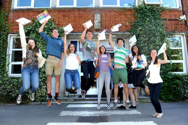 Jumping for joy: Students at Hinchley Wood School
