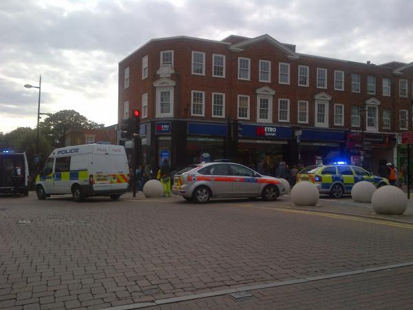 The scene outside Metro Bank in Bromley High Street this afternoon