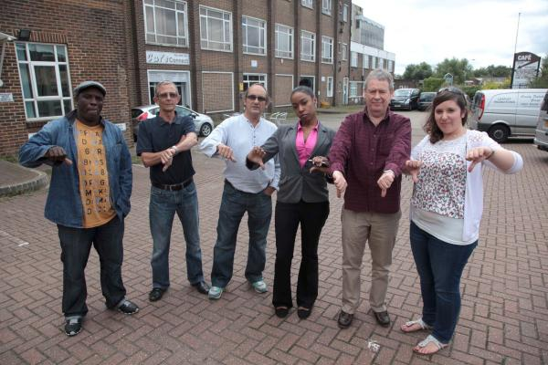 Business owners protest their eviction from the Willow Lane Industrial Estate in Mitcham