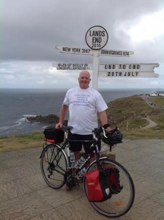 John Wright at the starting line in Lands End, Cornwall