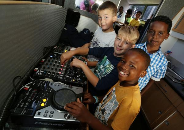 Mixing it: these children were set on learning musical skills
