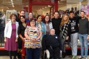 Staff, volunteers and locals with TOWIE stars Arg, Diags and Fran.
