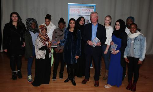 Anneta Prem with John Cryer MP and Leyton Sixth Form students