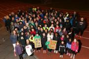 Campaigners gathered on the track at the Walthamstow Pool and Track last night