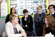 Clare Balding with pupils from Harris City Academy Crystal Palace