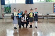 Mayor with children joining the Book Swap