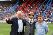 Celebratory drink: Martin Long, Steve Parish and Stephen Browett - who shared a drink with Alan Pardew after the win over Swansea City