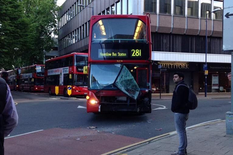 This 281 bus travelling through Kingston was damaged in the collision (Picture: @MPSKingston)