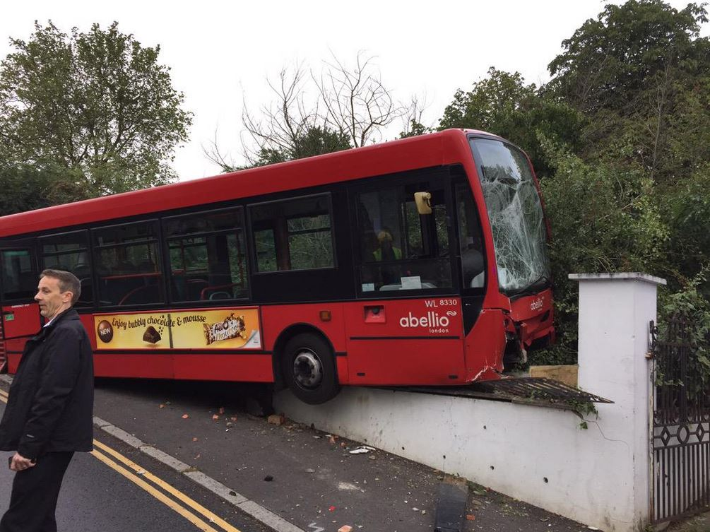 A bus has ploughed into a wall in Vicars Hill, Ladywell (Photo: @MPSLewisham)