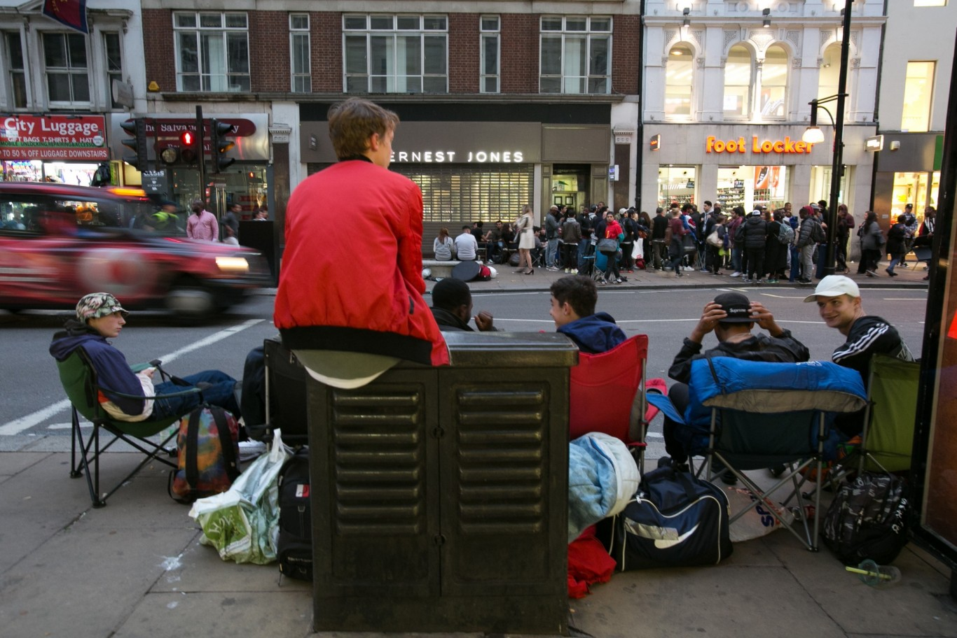 People are camping in Oxford Street for