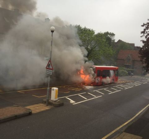 The bus fire in Wickham Road. (c.) Kent 999s/@Andylewis440