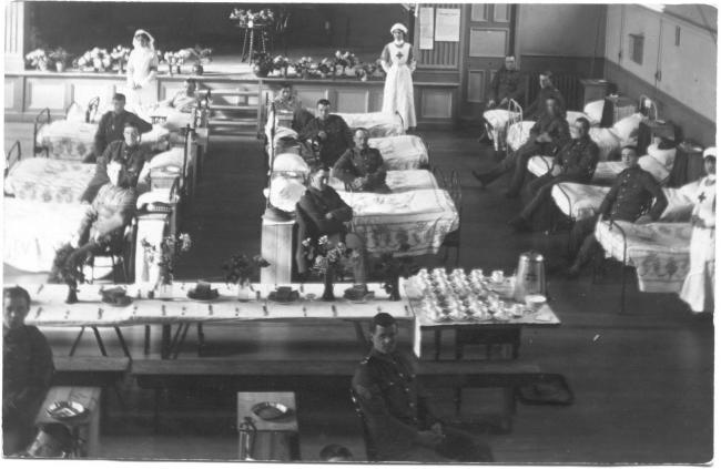Patients in their beds at the Waltham Abbey Town Hall hospital. Photos Epping Forest District Museum)