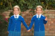 Conjoined twins Rosie and Ruby Formosa from Bexleyheath were given a slim chance of survival but are now starting school together. Photo: PA