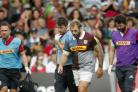 Harlequins' Joe Marler goes off after being knocked out against Saracens
