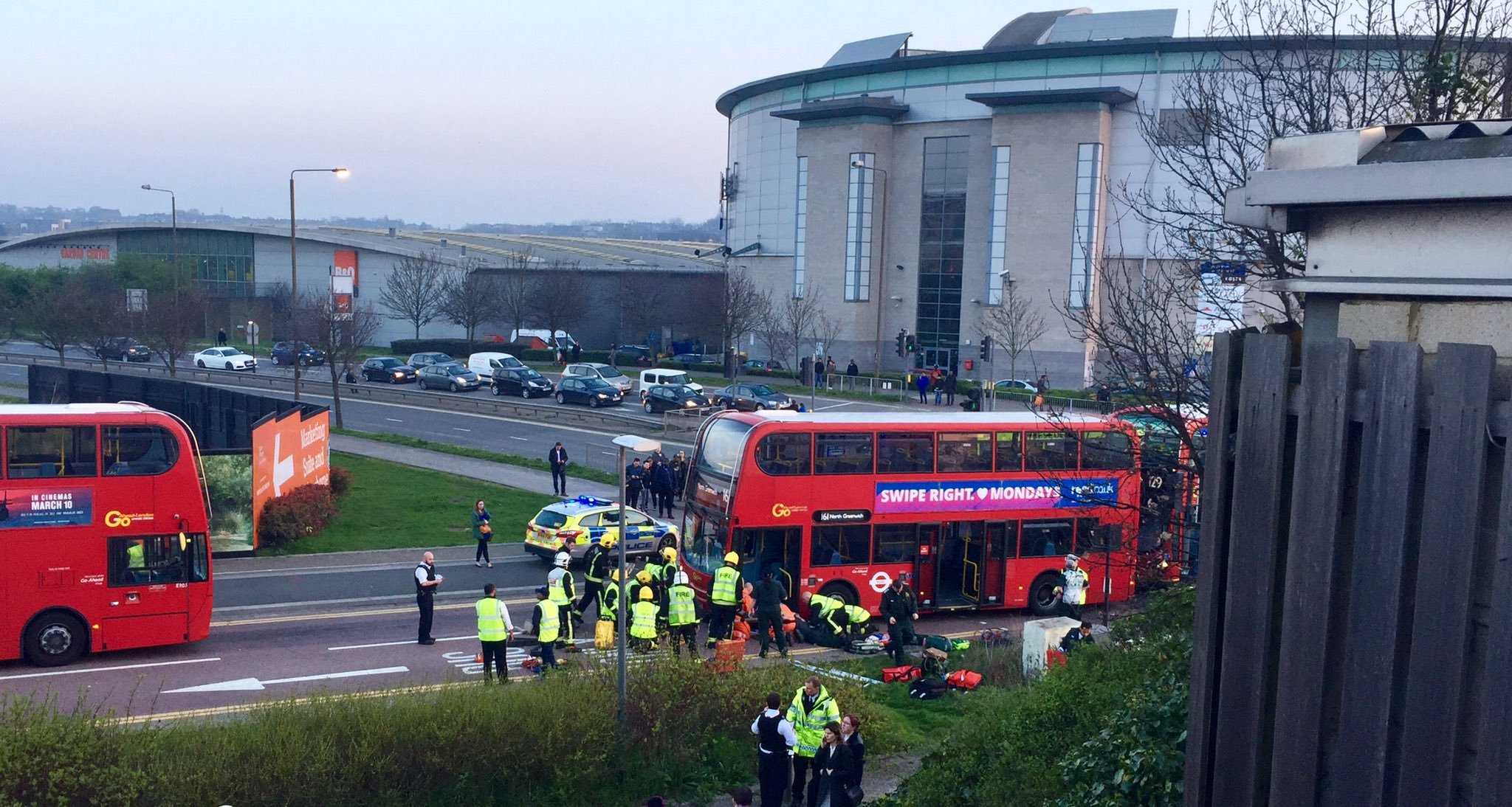 The scene where a woman was hit by a bus in North Greenwich. Photo: Ben Shayler