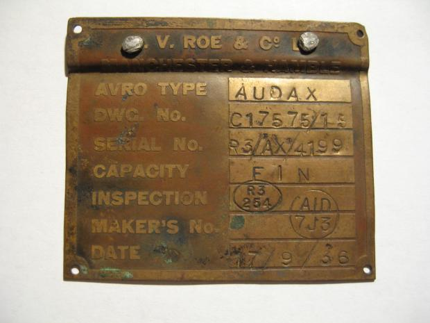The recovered makers' plate from the Audax two-seater RAF plane (c)
