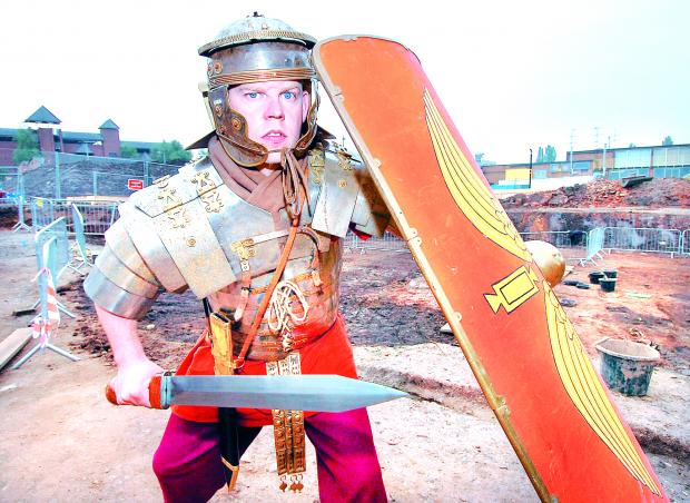 This Is Local London: In action: Paul Harding from Living History dressed as a Roman soldier who will be on hand throughout the open day. 38014202.