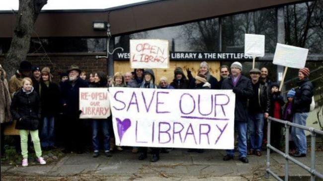 A protest to save West Norwood library, September 2012