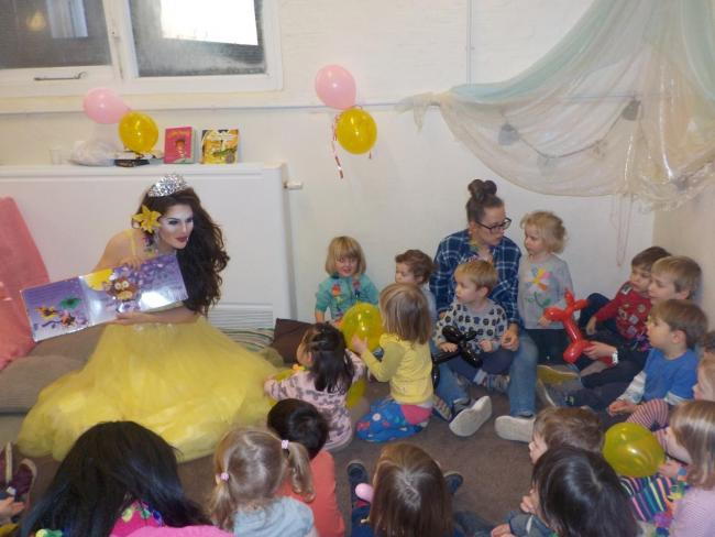 Drag Queen Story Time at a nursery in Kidbrooke
