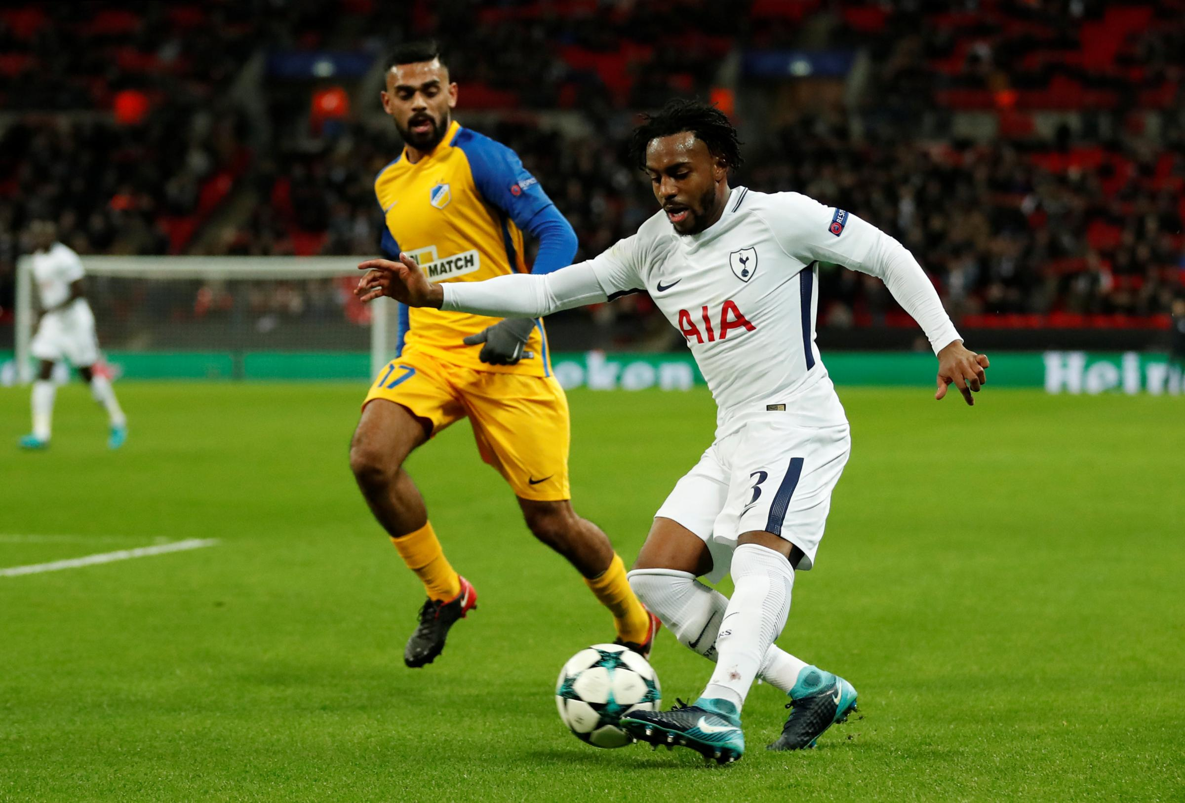 Danny Rose in action against Apoel Nicosia last night. Picture: Action Images