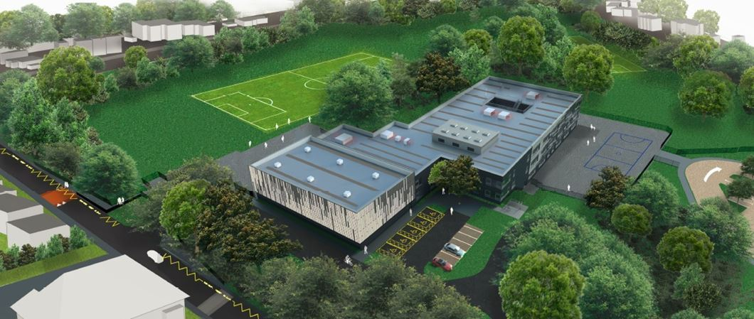The planned new Bullers Wood School for Boys
