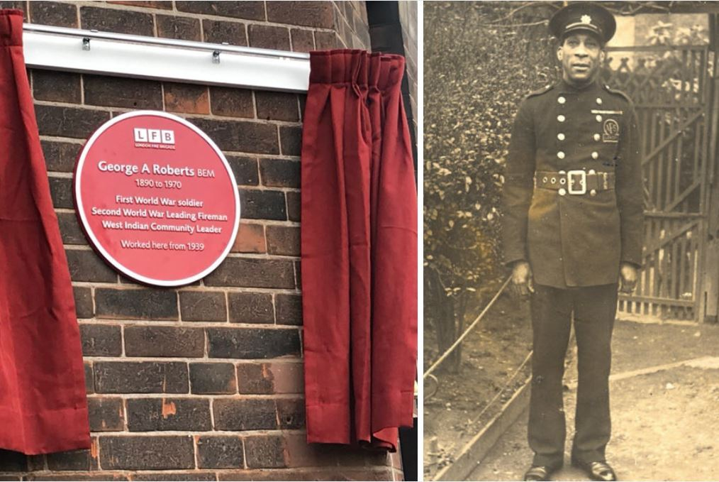 Plaque for George Arthur Roberts, one of the first black firefighters in London