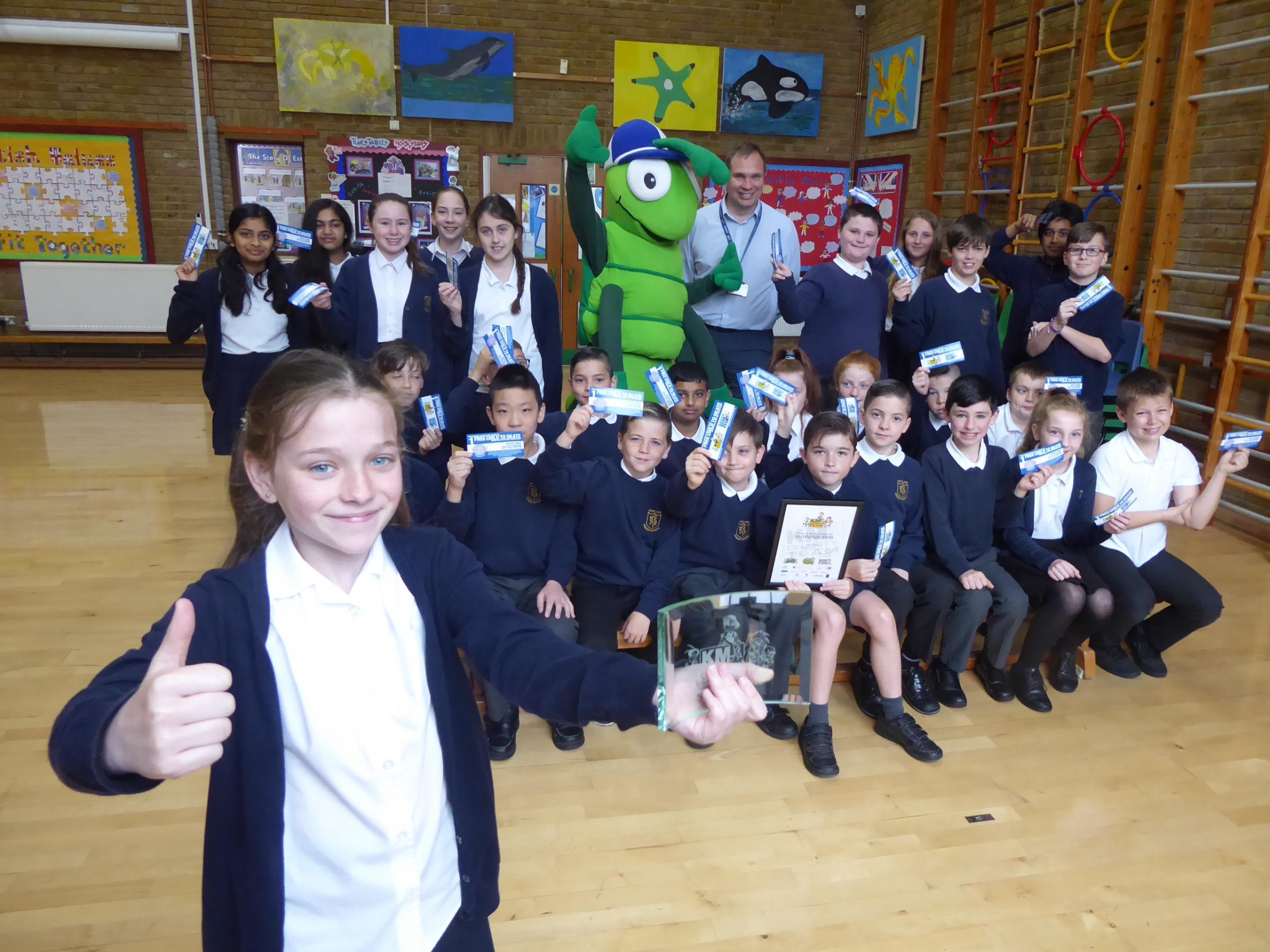Pupil Isabelle and her class at Hook Lane Primary School