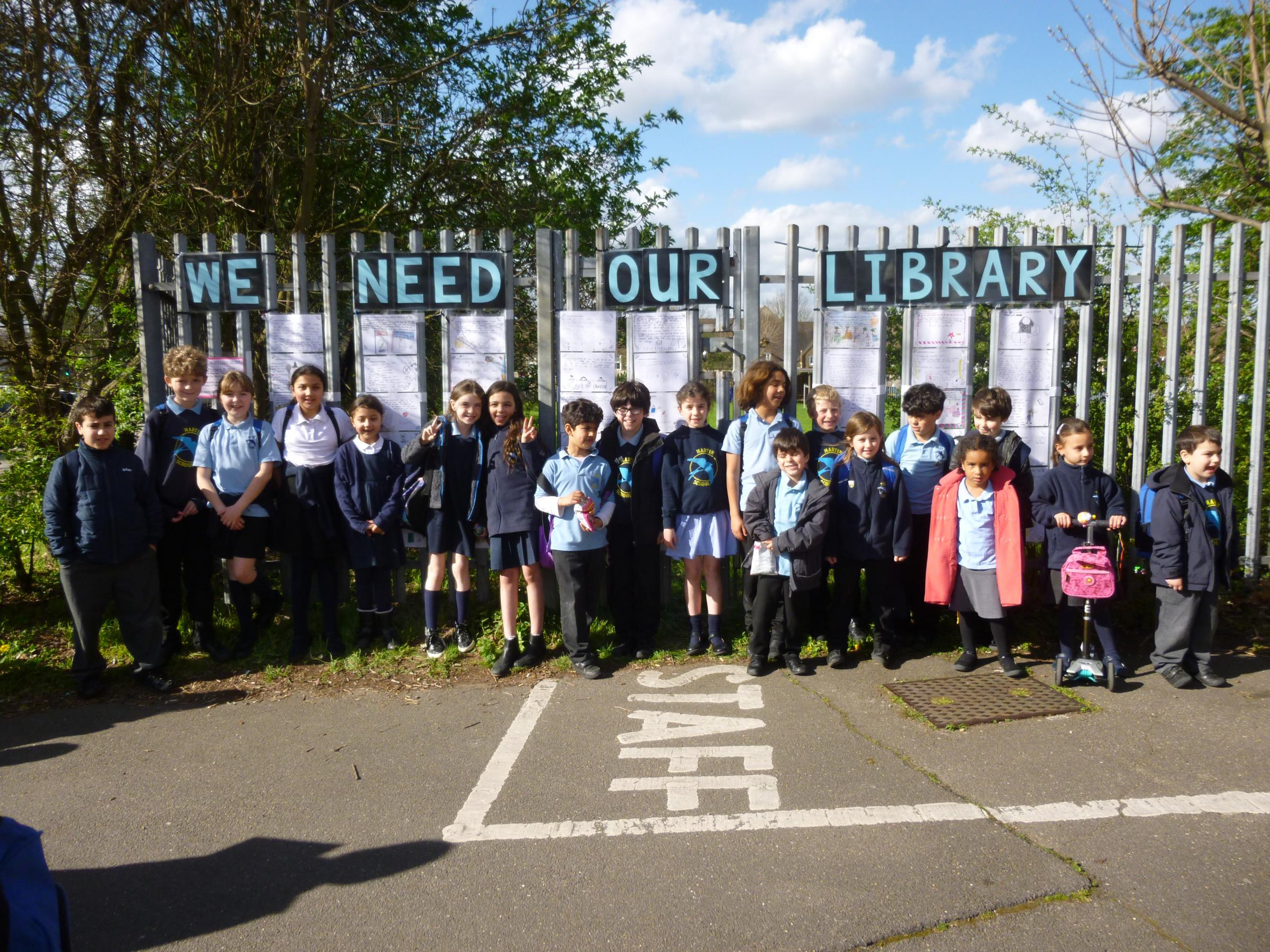 Children protest against library cuts