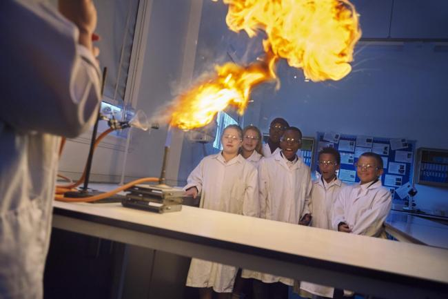 Students at Plumstead Manor during a science experiment