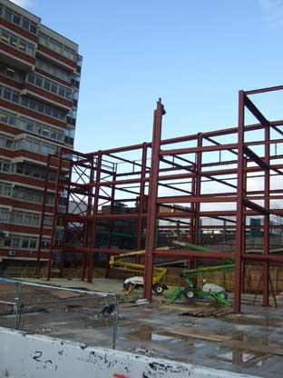 A huge steel framework is already in place as the rebuild of Orpington College remains on track for an early 2010 completion