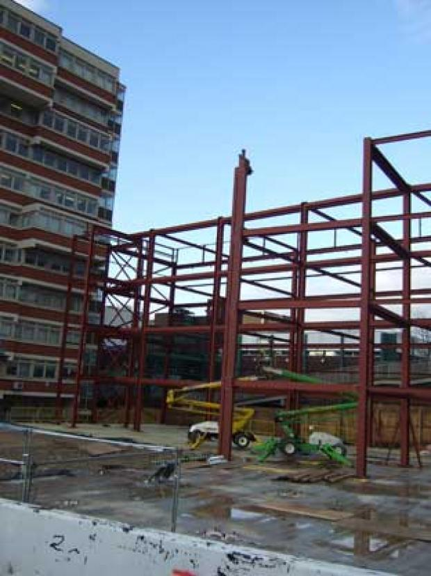 This Is Local London: A huge steel framework is already in place as the rebuild of Orpington College remains on track for an early 2010 completion