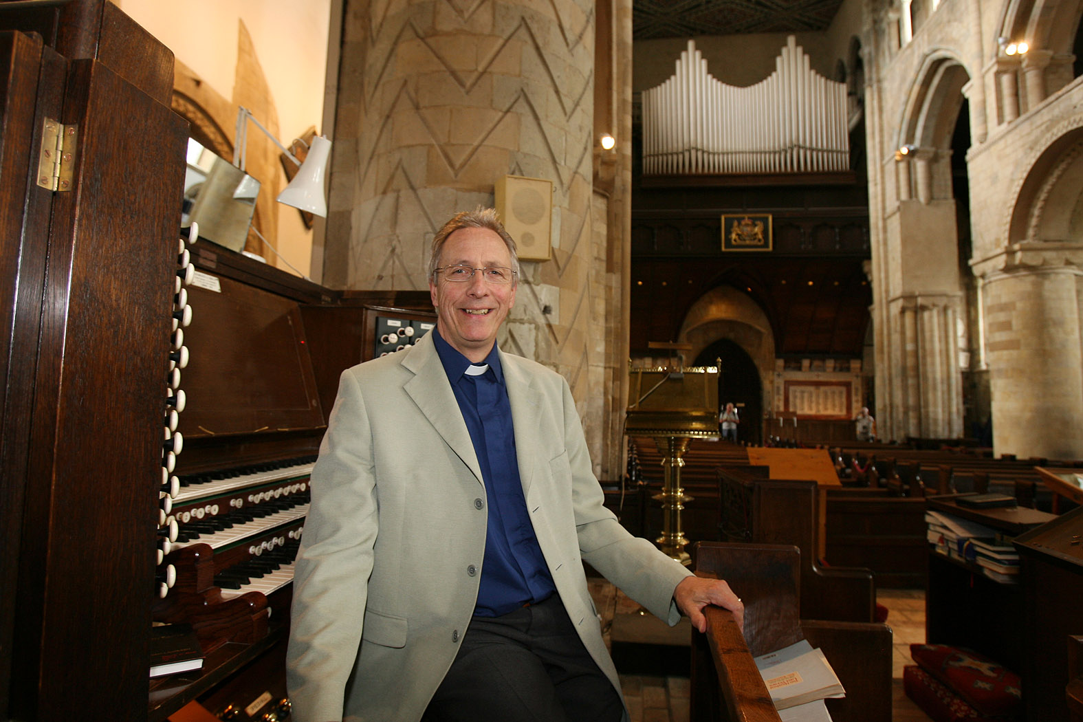Rev Canon Martin Webster with his ageing organ