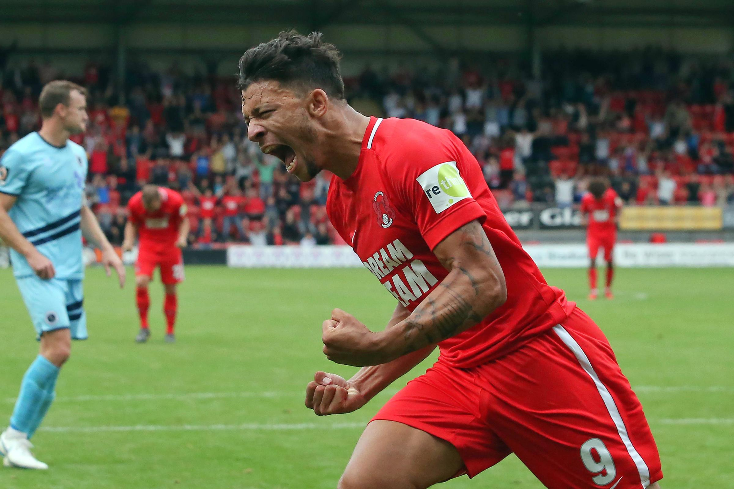 Macauley Bonne celebrates after scoring the winner against Boreham Wood earlier this season. Picture: Simon O'Connor.