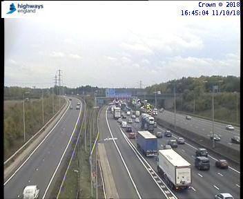 Traffic on the M1 is slow due to a broken down vehicle which has now been removed, photo by Highways England