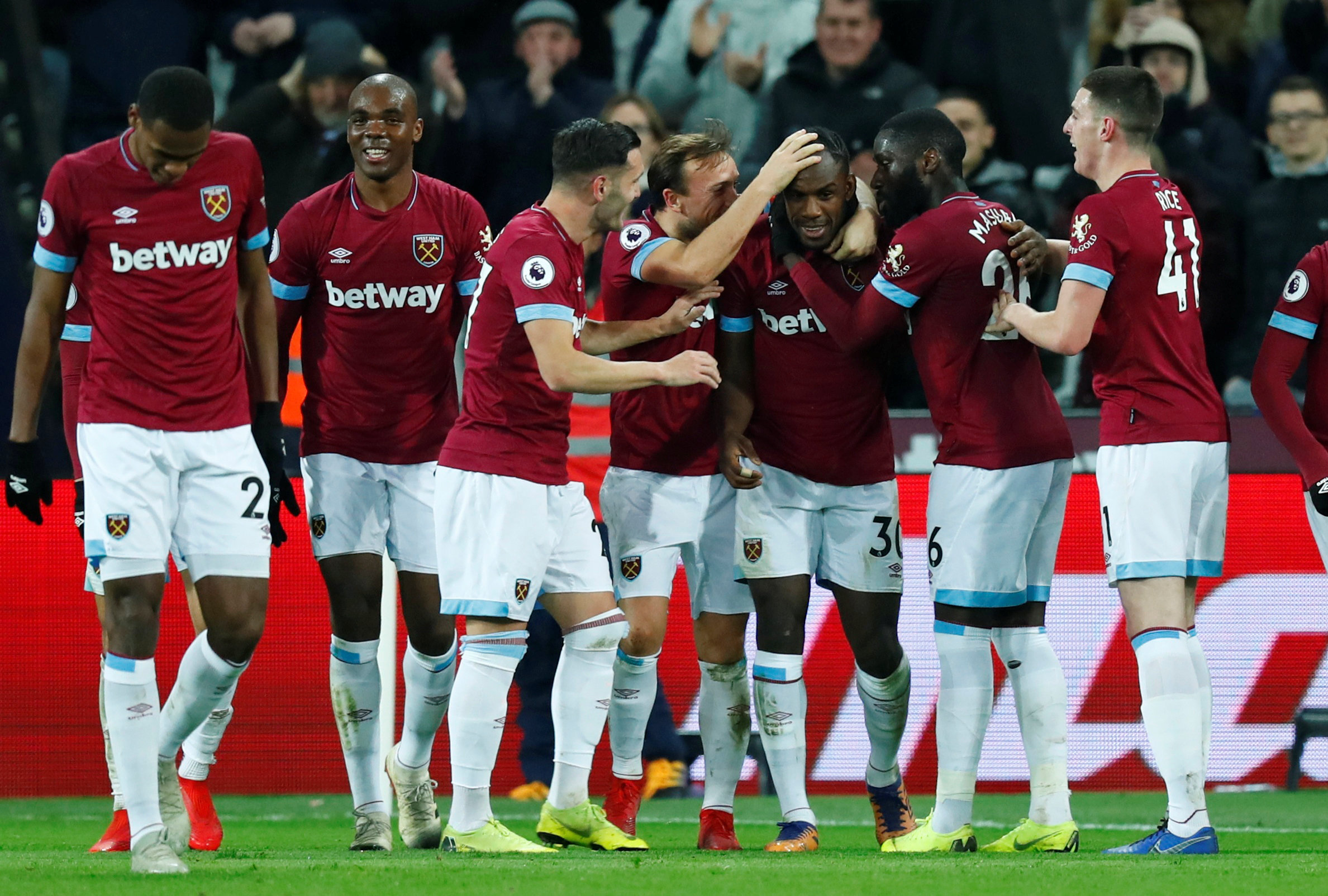 A collective celebration: Michail Antonio is congratulated on his goal. Picture: Action Images