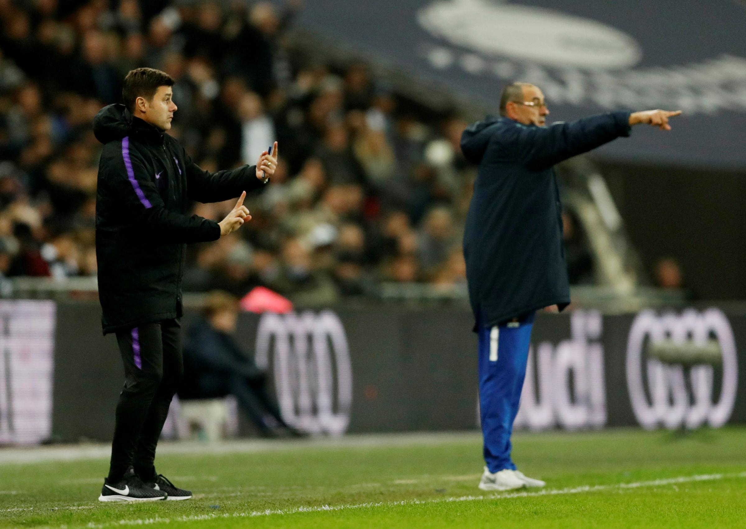 Mauricio Pochettino and Mauizio Sarri will meet in the semi-final first leg tonight. Picture: Action Images