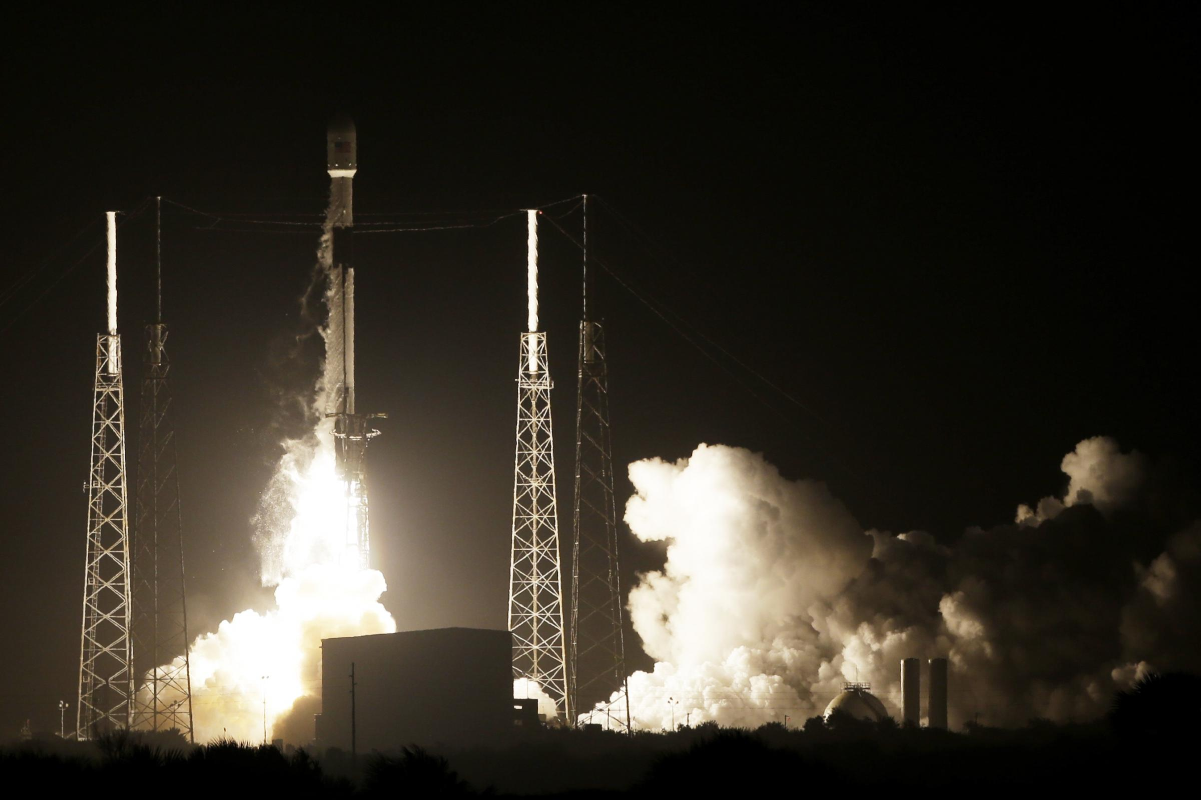 A SpaceX Falcon 9 rocket lifts off with Israel's Lunar Lander