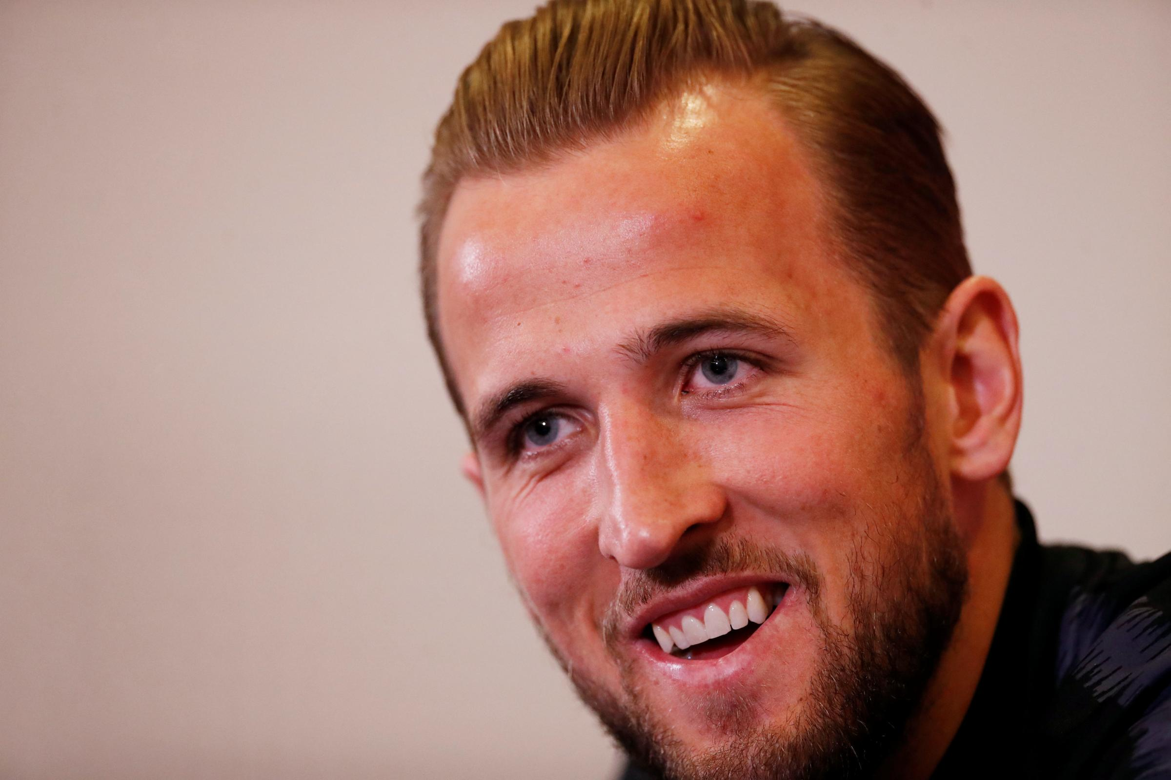 A relaxed Harry Kane addressing the media. Picture: Action Images