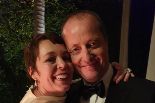 Olivia Colman with producer Andrew Lowe after her Oscar win for her role in The Favourite