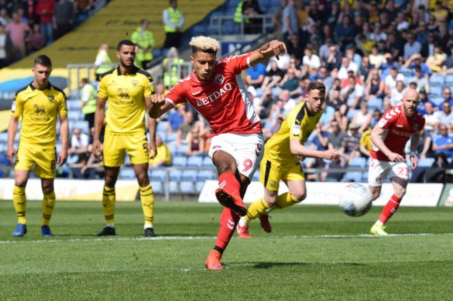 Lyle Taylor's 22nd goal of the season opened the scoring for Charlton | Picture: Kyle Andrews