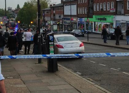 The scene of the stabbing in Wembley @999London