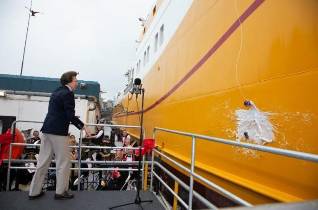 Her Royal Highness The Princess Royal named Britain's newest distant waters fishing vessel on Wednesday in a ceremony attended by officers, crew and shareholders of Kirkella's owner, UK Fisheries.