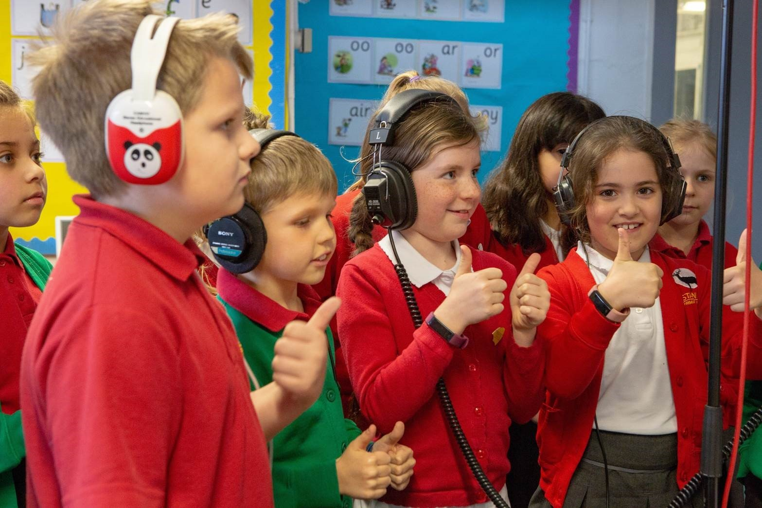 Stanley pupils recording the song