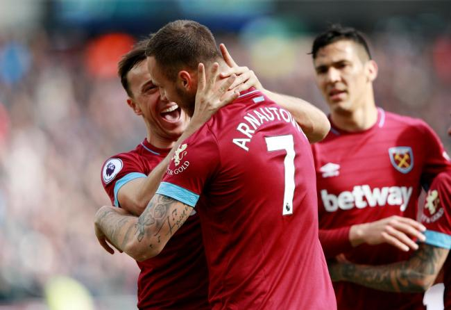 Marko Arnautovic celebrates his second goal. Picture: Action Images