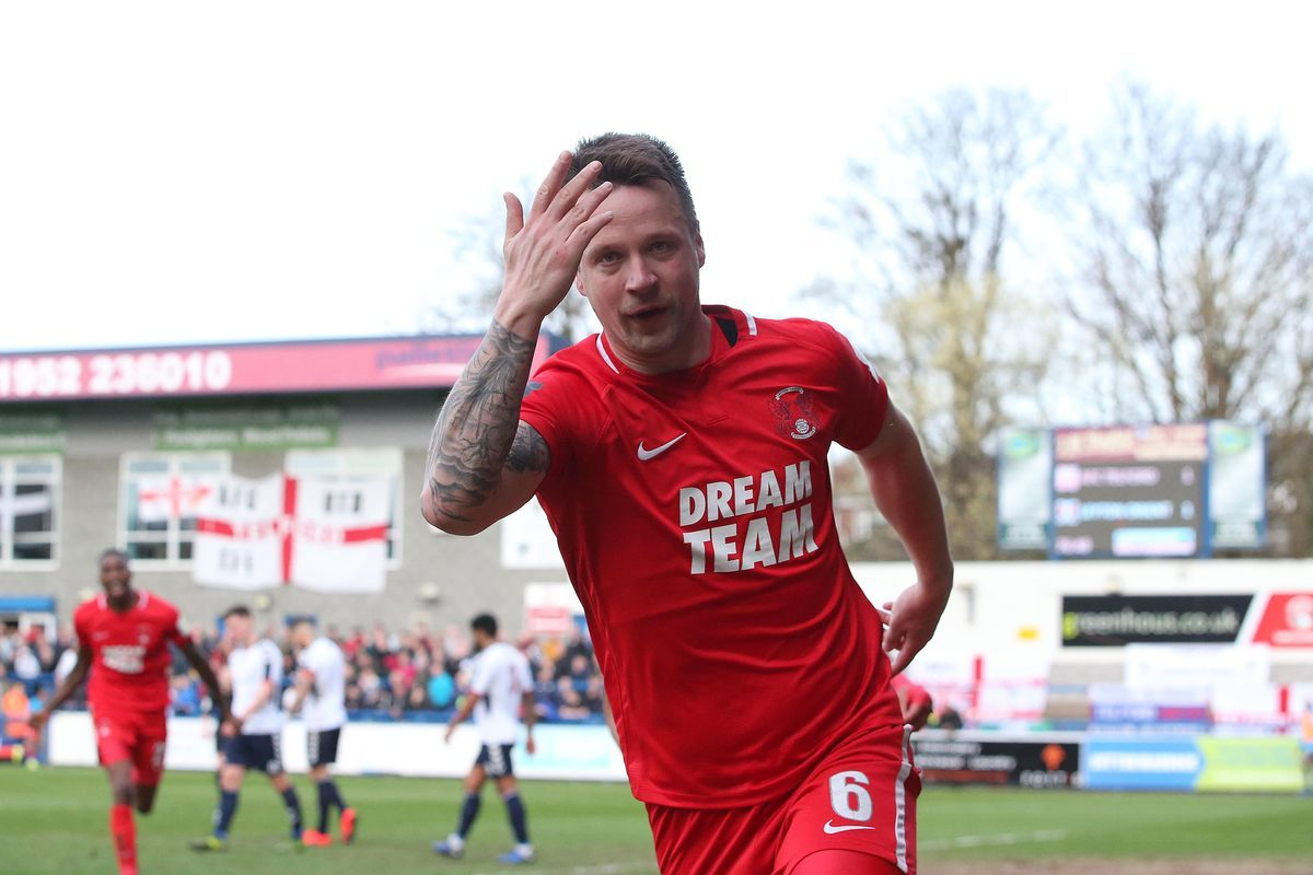 Josh Coulson celebrates scorong the winning goal against AFC Telford United. Picture: Simon O'Connor