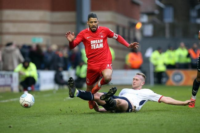 Jobi McAnuff in action against AFC Telford United in the FA Trophy. Picture: Simon O'Connor