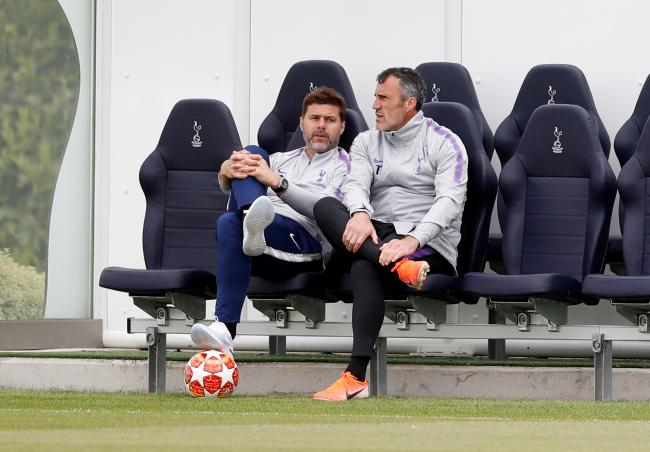 Mauricio Pochettino at Spurs training today. Picture: Action Images