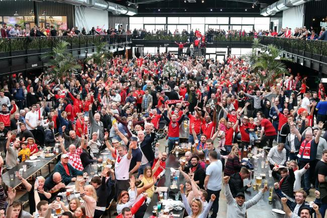 Leyton Orient fans at the BoxPark fan zone before the FA Trophy final against AFC Fylde. Picture: Simon O'Connor